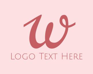 Mum - Feminine Pink W logo design
