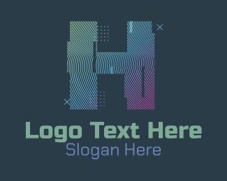 I - Modern Glitch Letter H logo design