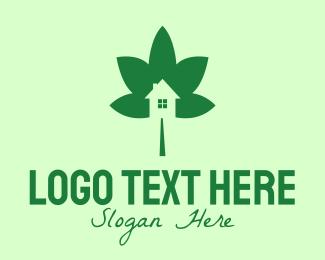 Environmental Friendly - Green Cannabis Leaf House  logo design