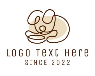 Puppy - Minimalistic Puppy Outline logo design