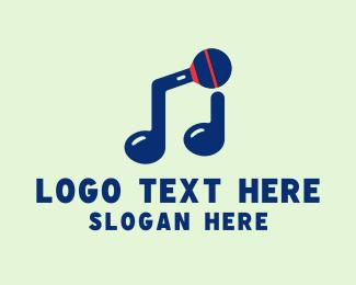Microphone - Blue Musical Microphone logo design