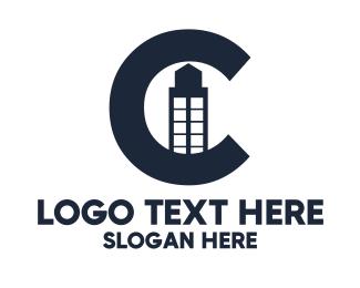 Black Building - Black Letter C Building logo design