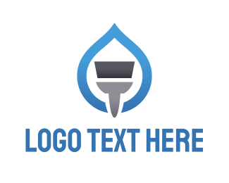 Blue Drop - Blue Paint Brush logo design
