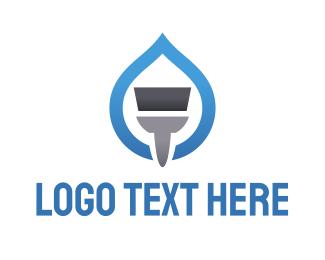Paint - Blue Paint Brush logo design