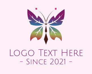 Ecofriendly - Gradient Leaf Butterfly logo design