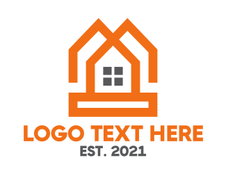 Orange House - Orange Twin House logo design