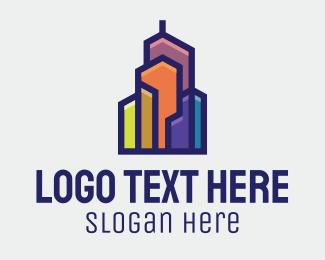 Trendy - Color Block Building logo design