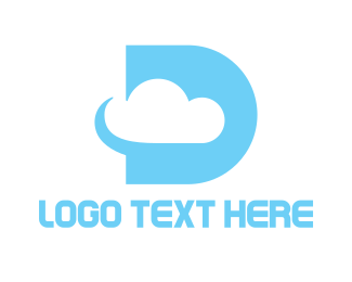 Floating - Cyan D Cloud logo design
