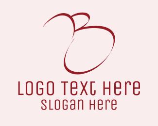 Red Cursive Letter B Logo