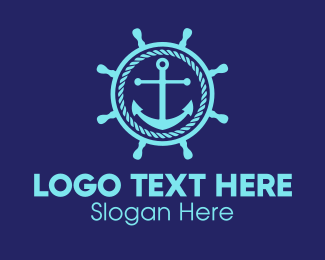 Marine - Ship Marine Helm Anchor logo design