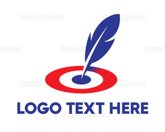 Calligraphy - Feather Target logo design