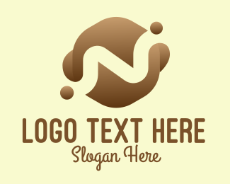 Wet - Brown Coffee Drink Letter N logo design
