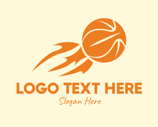 Fire - Flaming Basketball logo design