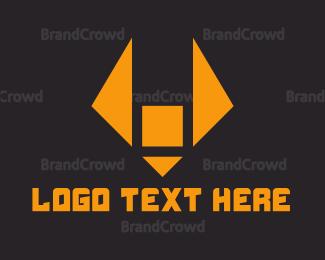 Orange And Gray - Triangle Fox logo design