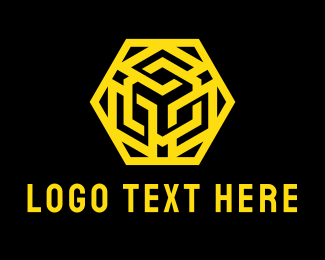 Pink Hexagon - Yellow Hexagon Emblem logo design
