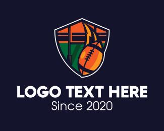 Football - American Football Field Shield logo design