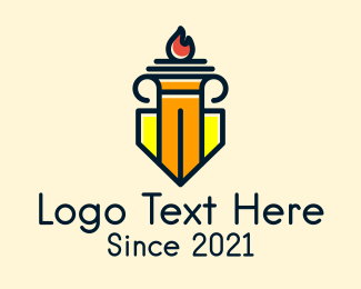 Lawmaker - Column Shield Torch logo design