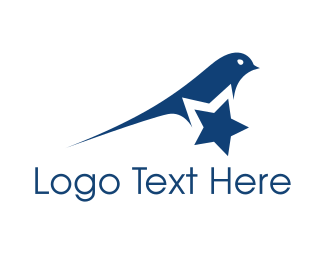 College - Blue Star Bird logo design