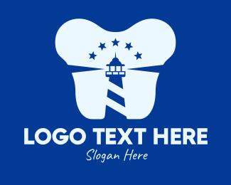 Dental - Blue Dental Lighthouse logo design