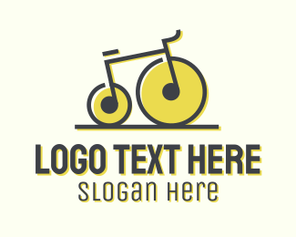 Fitness - Musical Penny Farthing Bicycle logo design