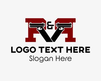 Gun - Gun Letter P logo design