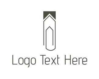 Paper Clip - House Clip logo design