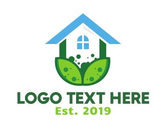 Cabin - Green Plant House logo design