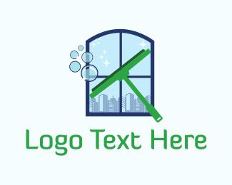 Wash - Window Cleaning Squeegee logo design
