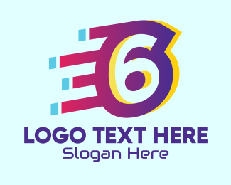 Typography - Modern Tech Number 6 logo design