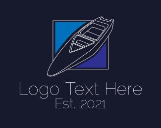 Water Sport - Minimalist Speedboat logo design