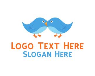 Twitter - Blue Birds Cartoon logo design