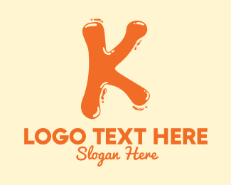 Flavored Drink - Liquid Soda Letter K logo design