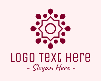 Yoga Fitness - Maroon Yoga Flower logo design