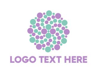 Purple Circle - Dots Circle logo design