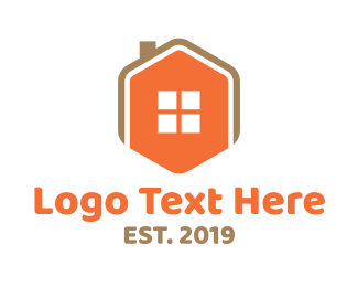 Chimney - Home Icon Hexagon  logo design