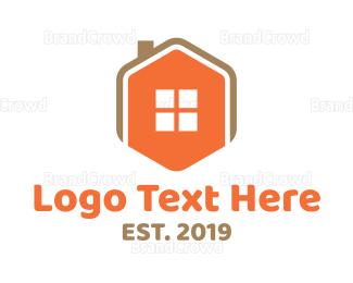 Window - Home Icon Hexagon  logo design