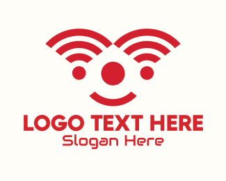 Comedian - Red Internet Signal Clown logo design