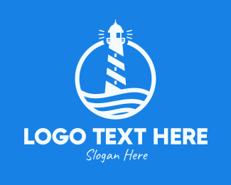Sea Wave - Round Coastal Lighthouse logo design