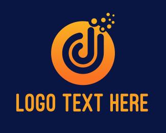 Headphone - Letter D Bubbles logo design