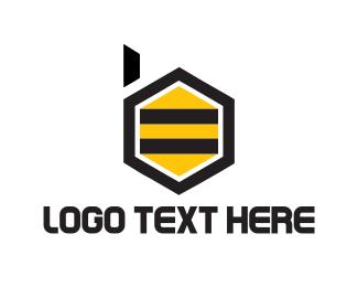 Honey - Bee Letter B logo design