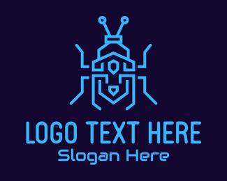 Exterminator - Blue Tech Bug logo design