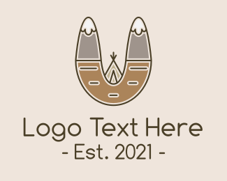 Mountain Climbing - Outdoor Mountain Tepee logo design