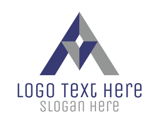 Blue And Grey - Professional Triangle Letter A logo design