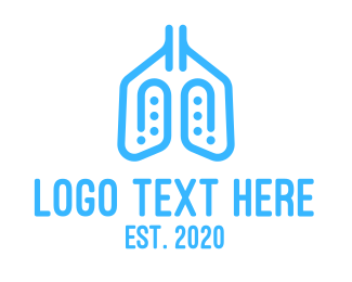 Messaging App - Blue Respiratory Lungs Clip logo design