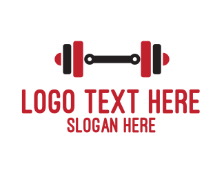 Red & Black Weights Fitness Logo Maker