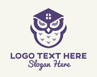 Real State - Purple Owl House logo design