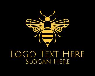 Yellow Bee - Yellow Honeybee  logo design