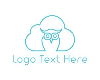 Blue And Brown - Cloud Owl logo design