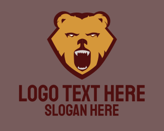 Brown Bear - Wild Aggressive Brown Bear logo design
