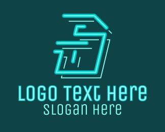 Fortnite - Neon Retro Gaming Letter S logo design